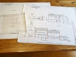 Copies of architectural drawings printed on cloth