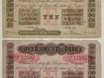 Original and copy of Indian banknote