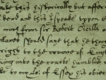 Elizabethan hand-writing (account of the trial of the Earl of Essex, Royal Armouries)